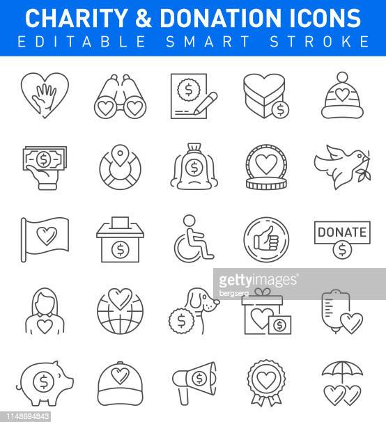 Charity and Donation Icons. Editable stroke