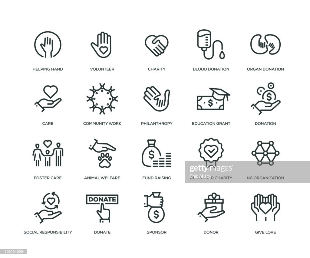 Charity and Donation Icons - Line Series : Stock Illustration