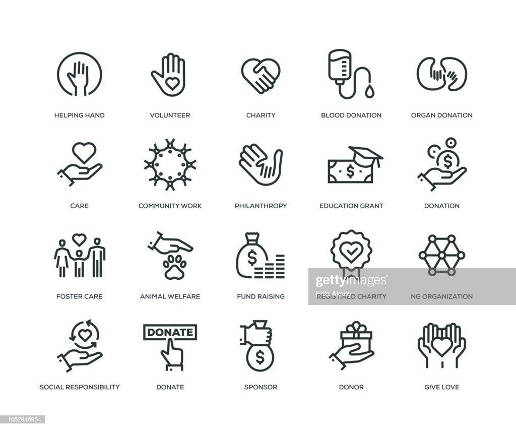 Caridad y donación iconos - serie : Ilustración de stock