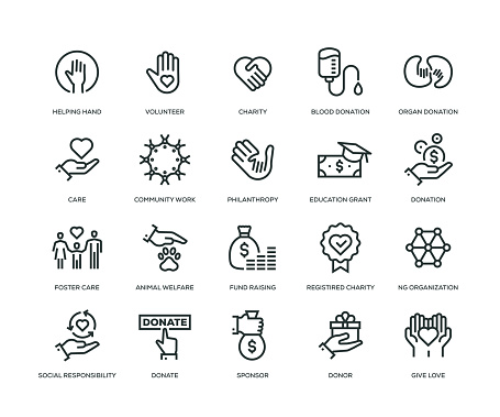 Charity and Donation Icons - Line Series - gettyimageskorea