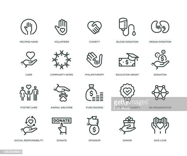 charity and donation icons - line series - hand stock illustrations