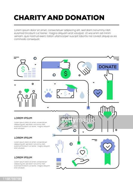 チャリティーと寄付のインフォグラフィックデザイン - 献血点のイラスト素材/クリップアート素材/マンガ素材/アイコン素材
