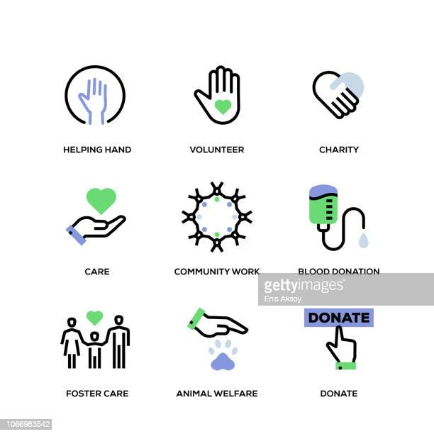 charity and donation line icon set - hope concept stock illustrations
