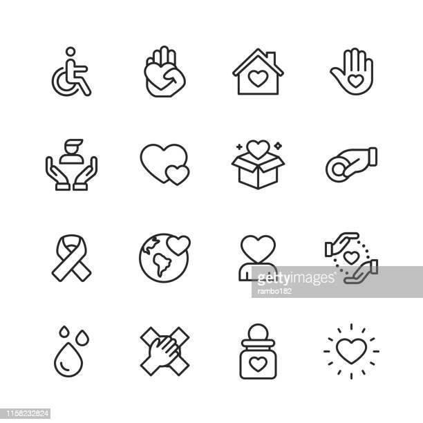 ilustrações, clipart, desenhos animados e ícones de ícones da linha da caridade e da doação. traçado editável. pixel perfeito. para mobile e web. contem tais ícones como a caridade, doação, deficiência, dar, doação de sangue, trabalhos de equipa. - amor