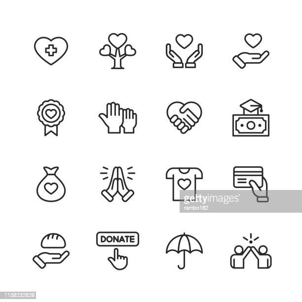 charity and donation line icons. editable stroke. pixel perfect. for mobile and web. contains such icons as charity, donation, tree, healthcare, education, scholarship, food. - sharing stock illustrations