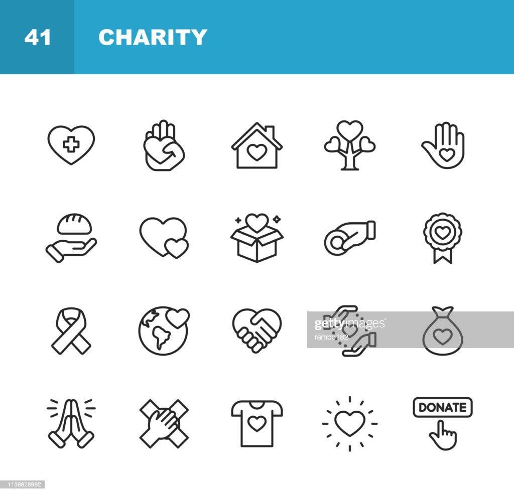 Liefdadigheid en schenkings lijn pictogrammen. Bewerkbare lijn. Pixel perfect. Voor mobiel en web. Bevat pictogrammen zoals liefdadigheid, schenking, het geven, voedsel schenking, teamwork, hulp. : Stockillustraties