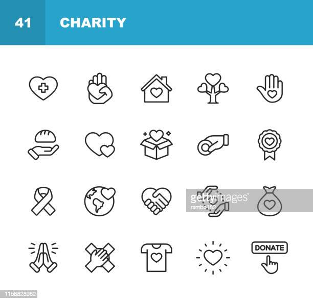charity and donation line icons. editable stroke. pixel perfect. for mobile and web. contains such icons as charity, donation, giving, food donation, teamwork, relief. - {{ collectponotification.cta }} stock illustrations