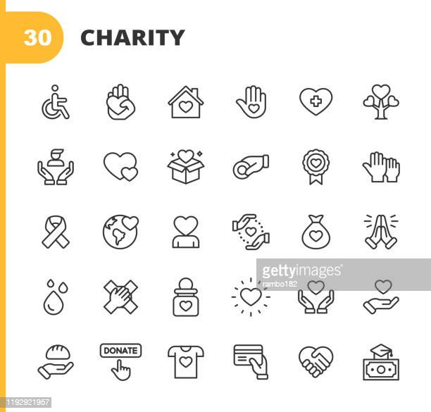 charity and donation line icons. editable stroke. pixel perfect. for mobile and web. contains such icons as charity, donation, giving, food donation, teamwork, relief. - assistance stock illustrations