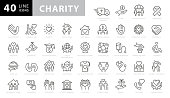 Charity and Donation Line Icons. Editable Stroke. Pixel Perfect. For Mobile and Web. Contains such icons as Charity, Donation, Giving, Food Donation, Teamwork, Relief