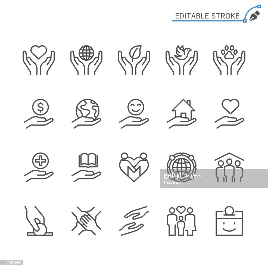 Charity and donation line icons. Editable stroke. Pixel perfect.