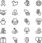 Charity and Donation Line icons | EPS10