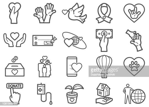 charity and donation line icons set 02 - i love you stock illustrations