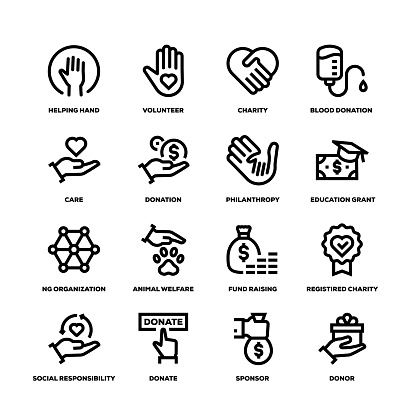 Charity and Donation Line Icons - gettyimageskorea