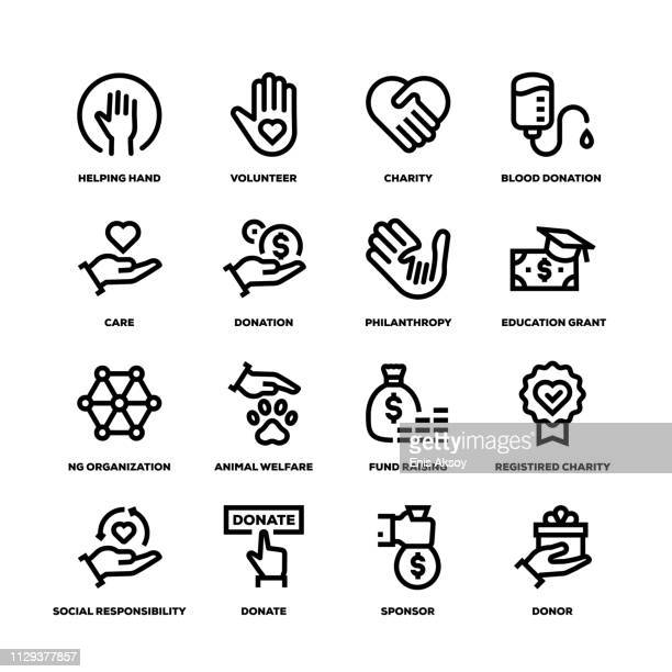 charity and donation line icons - new life stock illustrations