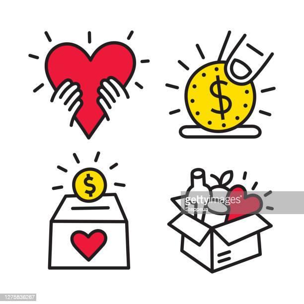 charity- und spendenlinien-ikonen - benefiz veranstaltung stock-grafiken, -clipart, -cartoons und -symbole