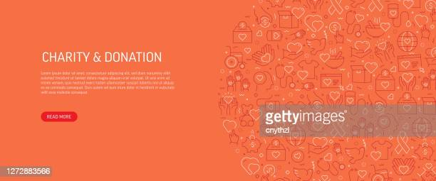 charity and donation related banner design with pattern. modern line style icons vector illustration - healthcare worker stock illustrations