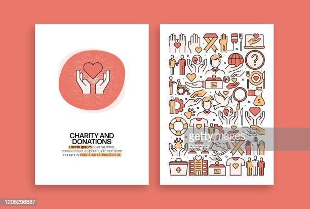 charity and donation related design. modern vector templates for brochure, cover, flyer and annual report. - charitable donation stock illustrations