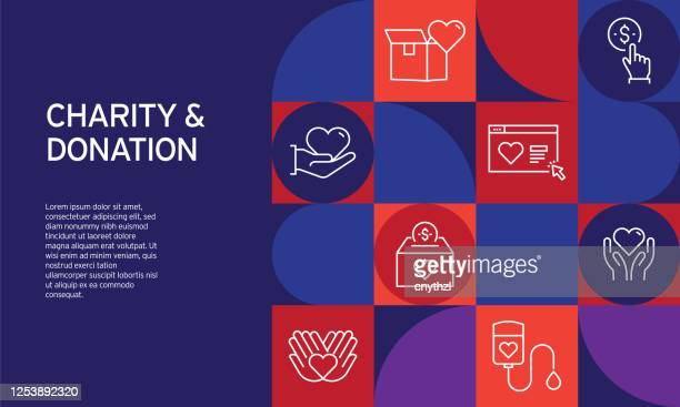 charity and donation related design with line icons. simple outline icons. - charitable donation stock illustrations