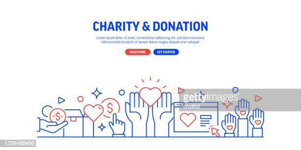charity and donation related web banner line style. modern design vector illustration for web banner, website header etc. - healthcare worker stock illustrations