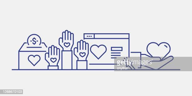 illustrazioni stock, clip art, cartoni animati e icone di tendenza di stile banner web relativo alla beneficenza e alla donazione. illustrazione vettoriale di design lineare moderna per banner web, intestazione del sito web, ecc. - organizzazione no profit