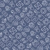 Charity and donation seamless pattern with thin line icons related to nonprofit organizations, fundraising, crowdfunding and charity project. Vector illustration for banner, print media.
