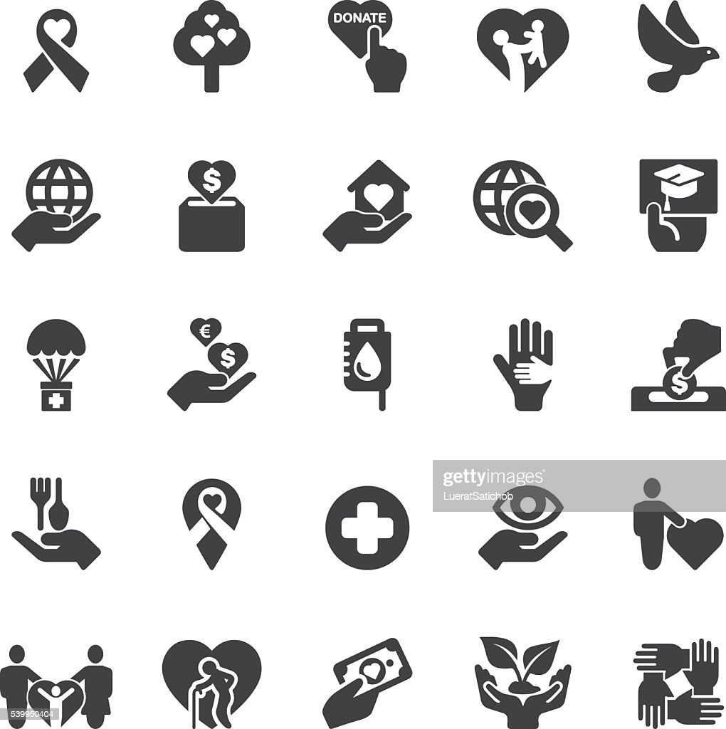 Charity and donation Silhouette icons | EPS10 : stock illustration