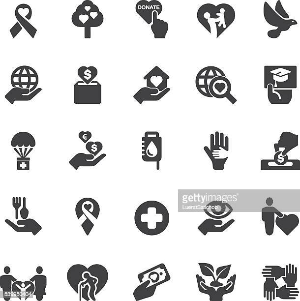 charity and donation silhouette icons | eps10 - group of animals stock illustrations, clip art, cartoons, & icons