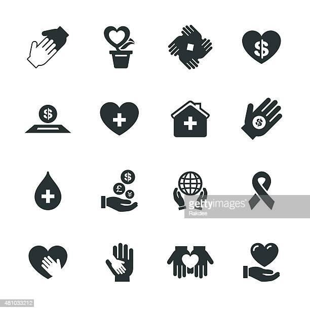 慈善事業への寄付シルエットとアイコン - 赤十字社点のイラスト素材/クリップアート素材/マンガ素材/アイコン素材