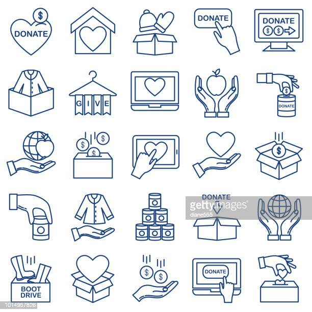 charity and donation thin line icon set - charitable donation stock illustrations