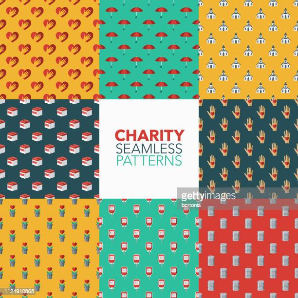 charity and donations patterns - food drive stock illustrations