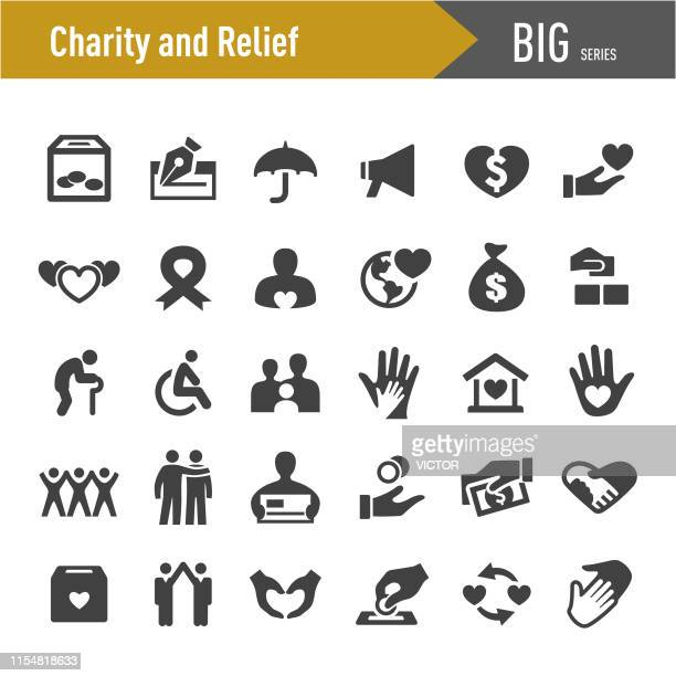 charity and relief icons - big series - non profit organization stock illustrations
