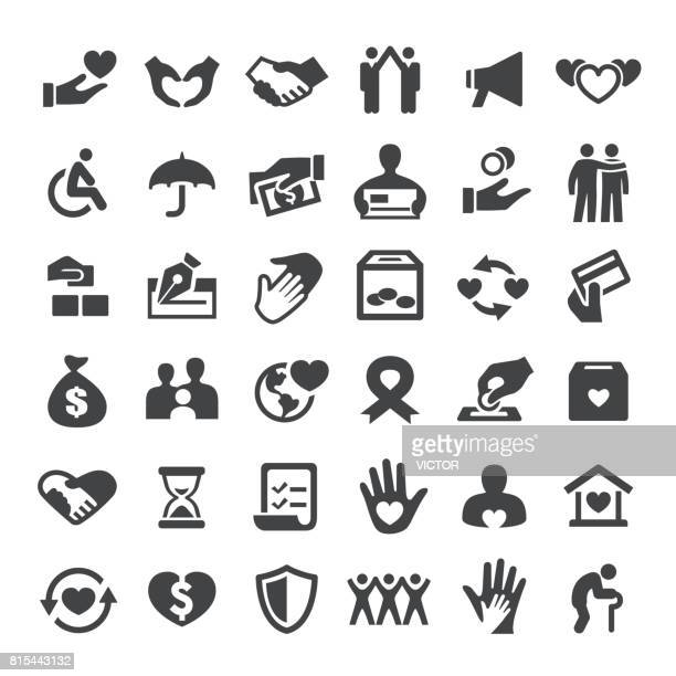 charity and relief icons - big series - group of objects stock illustrations