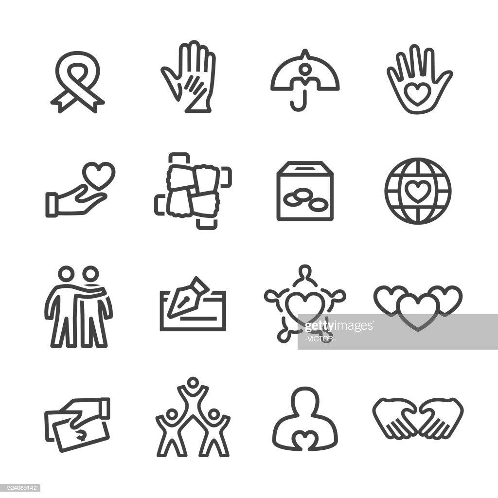 Caridade e ícones de alívio - linha série : Ilustração