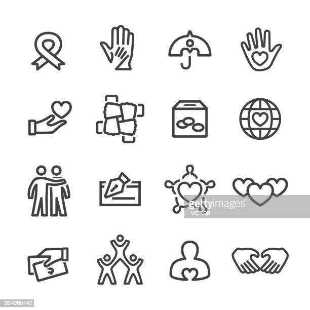 charity and relief icons - line series - aids awareness ribbon stock illustrations