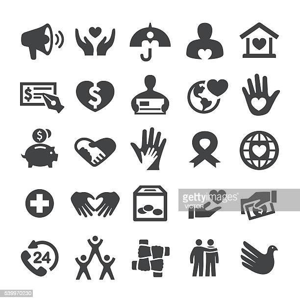 charity and relief icons - smart series - heart symbol stock illustrations