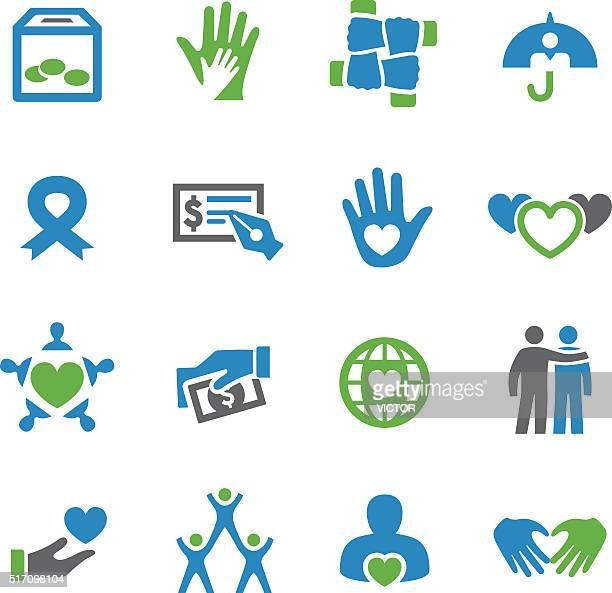 nächstenliebe und relief-icons-spry serie - aids schleife stock-grafiken, -clipart, -cartoons und -symbole