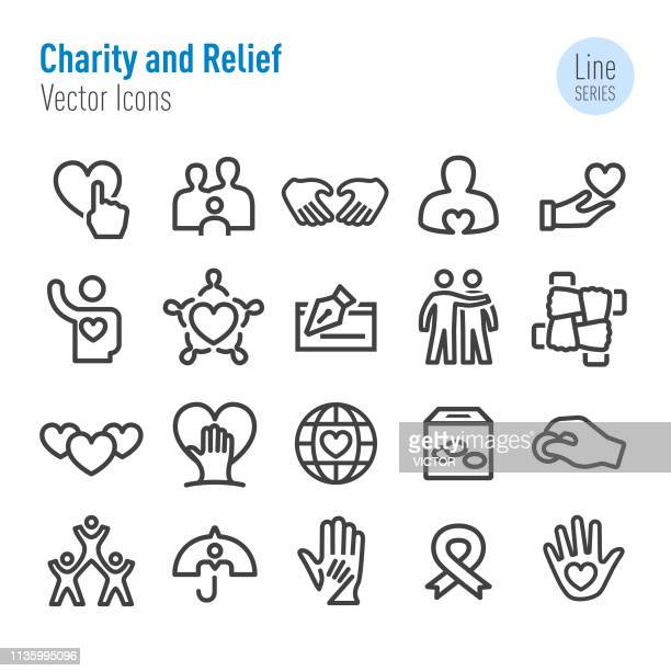 charity and relief icons - vector line series - aids awareness ribbon stock illustrations