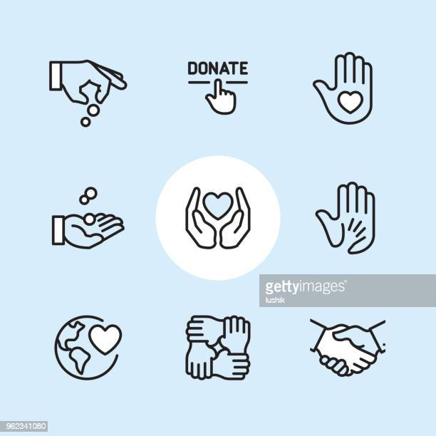 Charity and Relief - outline icon set