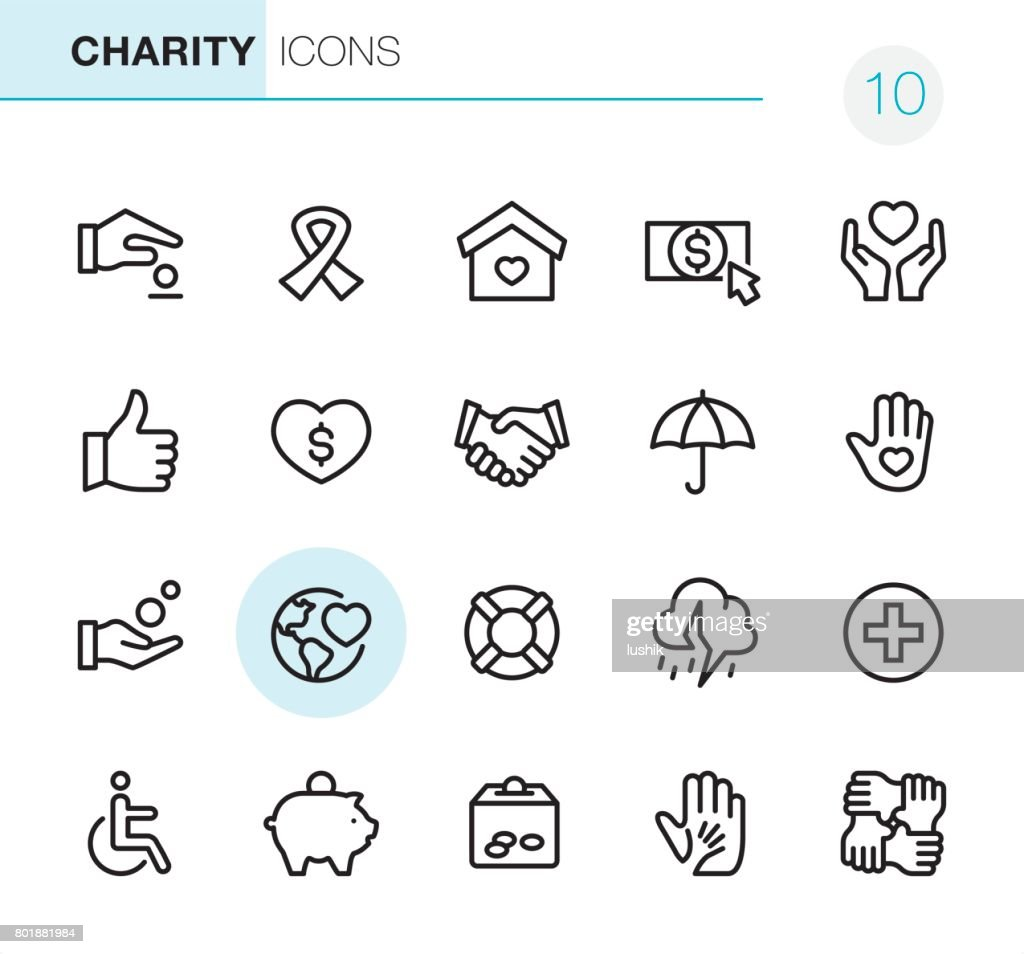 Charity and Relief - Pixel Perfect icons : Stock Illustration