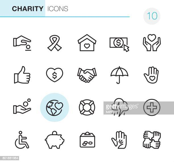 charity and relief - pixel perfect icons - investment stock illustrations
