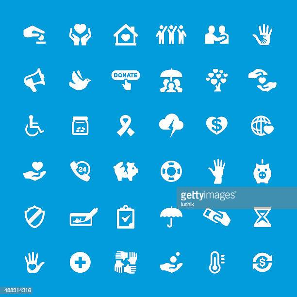charity and relief vector icons set - assistive technology stock illustrations, clip art, cartoons, & icons