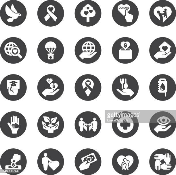 Charity and Relief Work Circle Silhouette icons | EPS10
