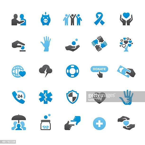 Charity and Relief Work related vector icons
