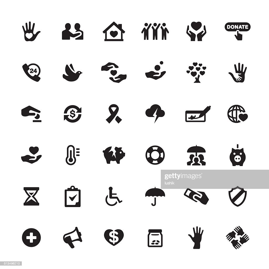 Charity and Relief Work vector symbols and icons