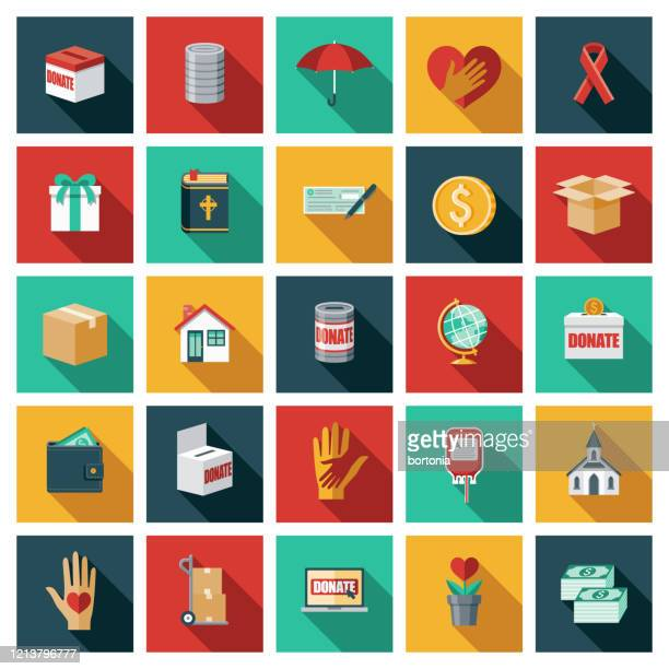 charity and volunteering icon set - respect stock illustrations
