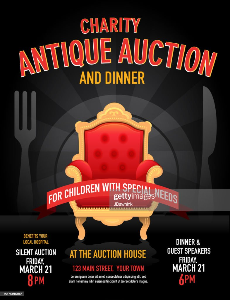 charity antique auction poster invitation design template vector art
