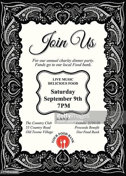 ilustraciones, imágenes clip art, dibujos animados e iconos de stock de cena benéfica plantilla de la invitación - social grace