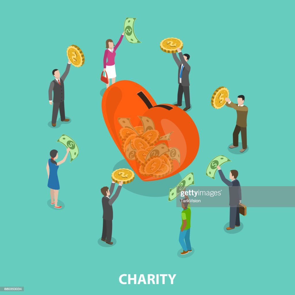 Charity flat isometric vector concept