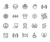 Charity flat line icons set. Donation, nonprofit organization, NGO, giving help vector illustrations. Outline signs for donating money, volunteer community. Pixel perfect 64x64. Editable Strokes