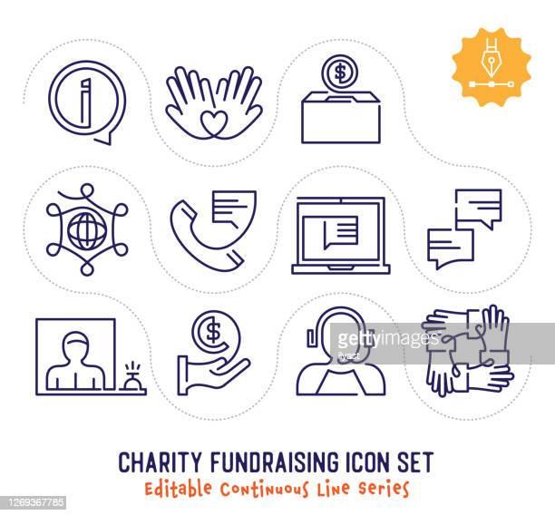 チャリティー募金編集可能な連続ラインアイコンパック - ファンドレイジング点のイラスト素材/クリップアート素材/マンガ素材/アイコン素材